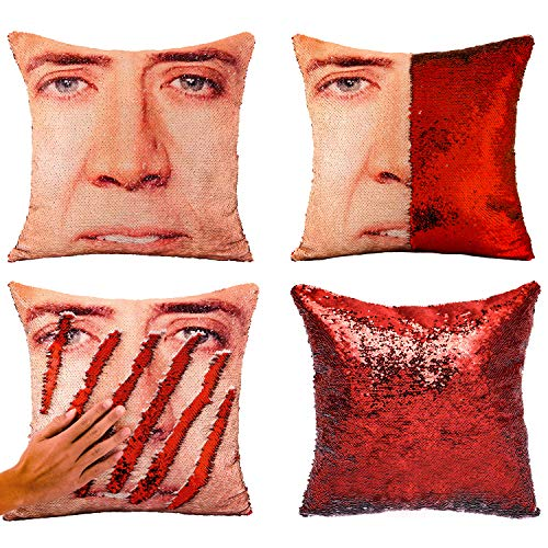 "Tiaronics Magic Reversible Sequins Mermaid Pillow Cases Throw Pillow CoversDecorative Pillowcase 4040cm(1616"") (Nicolas Cage/Red)"