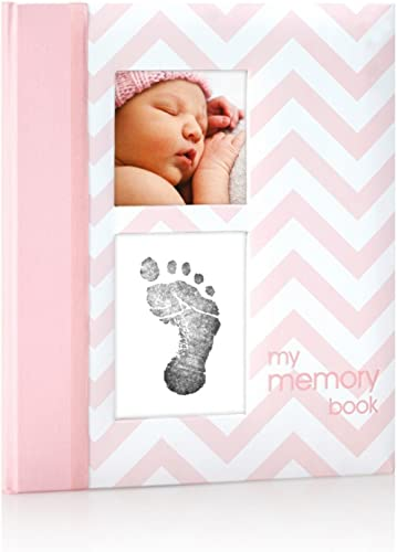 Pearhead First 5 Years Chevron Baby Memory Book with Clean-Touch Baby Safe Ink Pad to Make Baby's Hand or Footprint I...