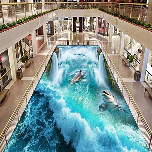 PVC autoadhesivo impermeable 3D baldosas de suelo papeles de pared pegatina cascadas delfines murales centro comercial al aire libre baño suelo wallpaper-350 * 275cm