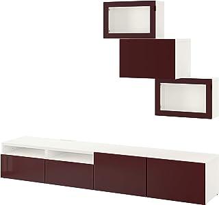 BESTÅ TV combinación de almacenamiento combinación/puertas de vidrio 240x42x190 cm blanco Selsviken/rojo oscuro vidrio tra...