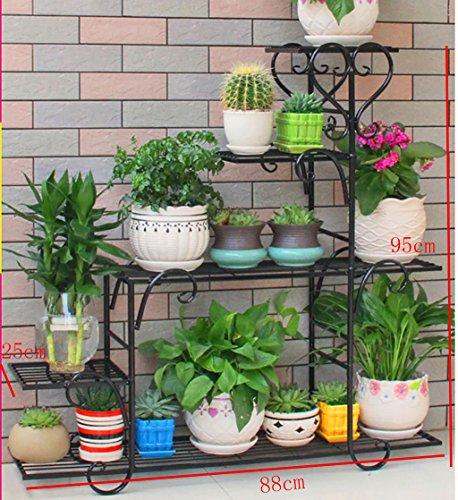Porte-fleurs Pots de fleurs en fer forgé de plusieurs étages à l'intérieur et à l'extérieur Étagères de salon de style européen porte plante (Couleur : 3)