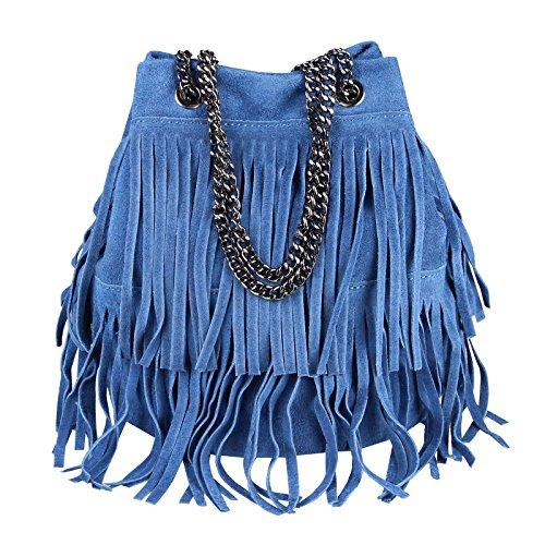 OBC Made in Italy Damen Leder Tasche Fransen Shopper Kettentasche Beutel Wildleder Handtasche Umhängetasche Bucket Bag Schultertasche Ledertasche (Jeansblau 20x25x19 cm)