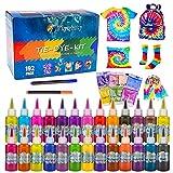 Flyqiuty Tie Dye Kit, 26 Färbe-Set für Kinder, Ungiftige Hemd Stoff Farbe, Textil Farben DIY...