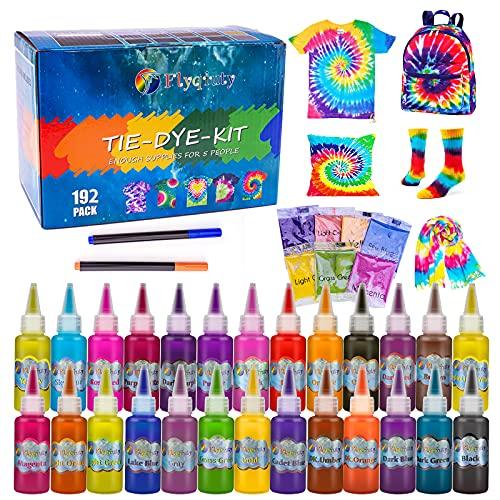 Flyqiuty Tie Dye Kit, 26 Färben Batikfarben Set DIY Textilfarbe Stoff Farben Kit, Ungiftige Hemd Stoff Farbe Graffiti Dye zum Kleidung Kunsthandwerk Spiele Aktivität für Kinder und Erwachsene
