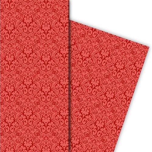 Klassisches rotes Retro Geschenkpapier Set (4 Bogen) mit grafischem Vintage Muster, universal Packpapier um schöner zu schenken 32 x 48cm