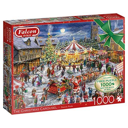 Jumbo- Falcon Il Carosello di Natale 2 x 1.000. Puzzle da 1.000 Pezzi, 11308
