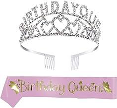 Feliz Cumpleaños Corona, Happy Birthday Plata Cristal Tiara Corona de Cumpleaños con Peines, Birthday Queen Banda de Satén Brillante, Regalo de 18 Cumpleaños