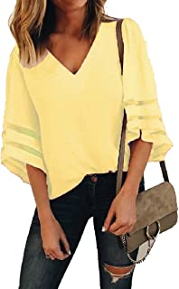 Fieer Women's Patched Plus-size Hollow Out Mesh Solid-Colored Blouses Ladies Tops