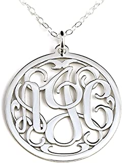 Personalized Round Monogram Sterling Silver Pendant Necklace Customized with Initials of Your Choice