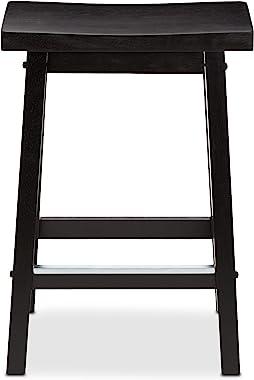 Amazon Basics Solid Wood Saddle-Seat Counter-Height Stool - Set of 2, 24 Inch, Black