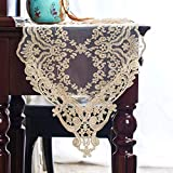 ARTABLE Gauze Table Runner Dresser Scarf Lace Macrame Embroidered Table Runners Chiffon Piano Runner for Wedding Holiday Summer Picnic Dinner Tables (Light Gold, 12''X48''(30X120cm))