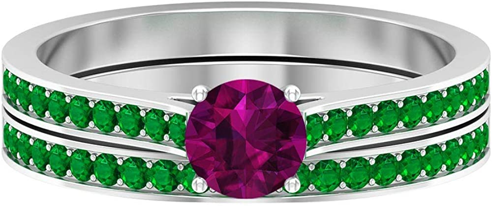 5.00 MM Rhodolite Solitaire Ring, 1.3 MM Emerald Eternity Band, Gold Wedding Rings Set (AAAA Quality), 14K Gold