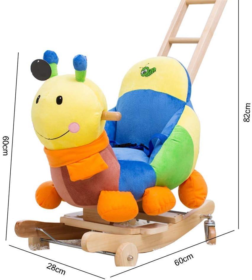 Taoke Chaise en Bois Massif Rocking Music Trojan Small Baby Toy Enfants à Double Usage Rocking Cradles Peut Pousser 60 * 28 * 82cm (Couleur: A) (Color : B) A