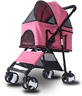 Stroller for Dogs and Cats, Pet Stroller for Small and Medium Cats, Dogs, Puppy – Lightweight, Compact and Portable with Durable Wheels,Pink