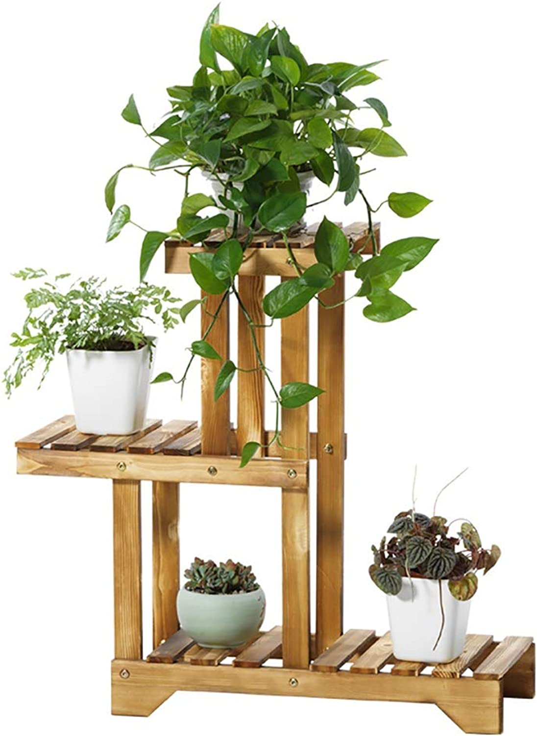 Hua Wooden Multi-Layer Flower Stand, Living Room Balcony Outdoor Plant Display Stand Indoor Three-Layer Floor Flower Pot Rack Decoration Frame