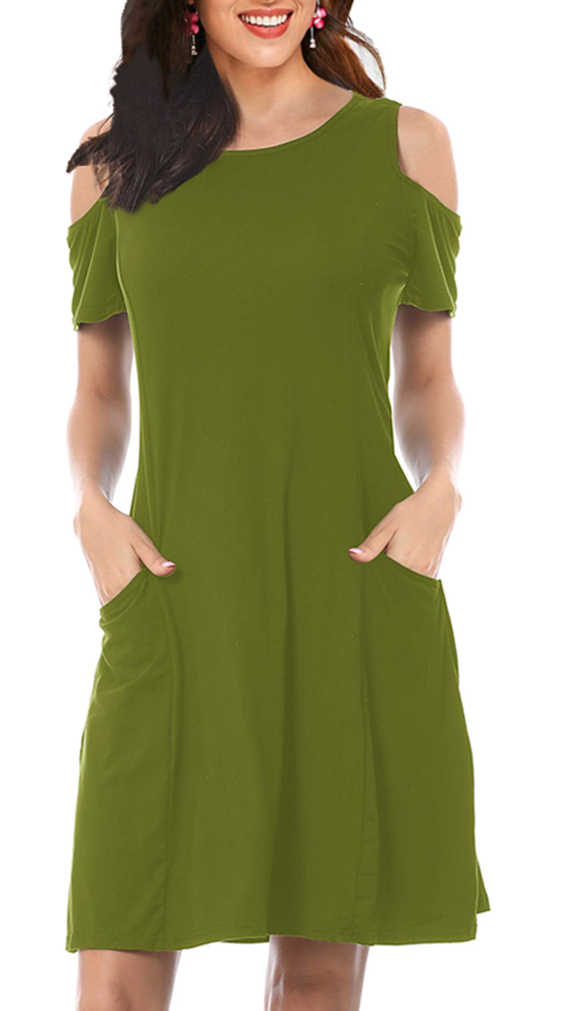 Available at Amazon: Women's Tunic Casual Summer Shift Dress - Daily Swing Party Short Sleeve Cold Shoulder Midi T-Shirt Dress with Pockets