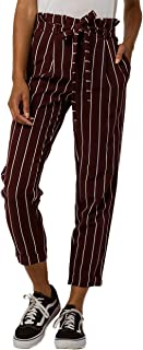 Juniors' Striped Cuffed Paperbag-Waist Pants