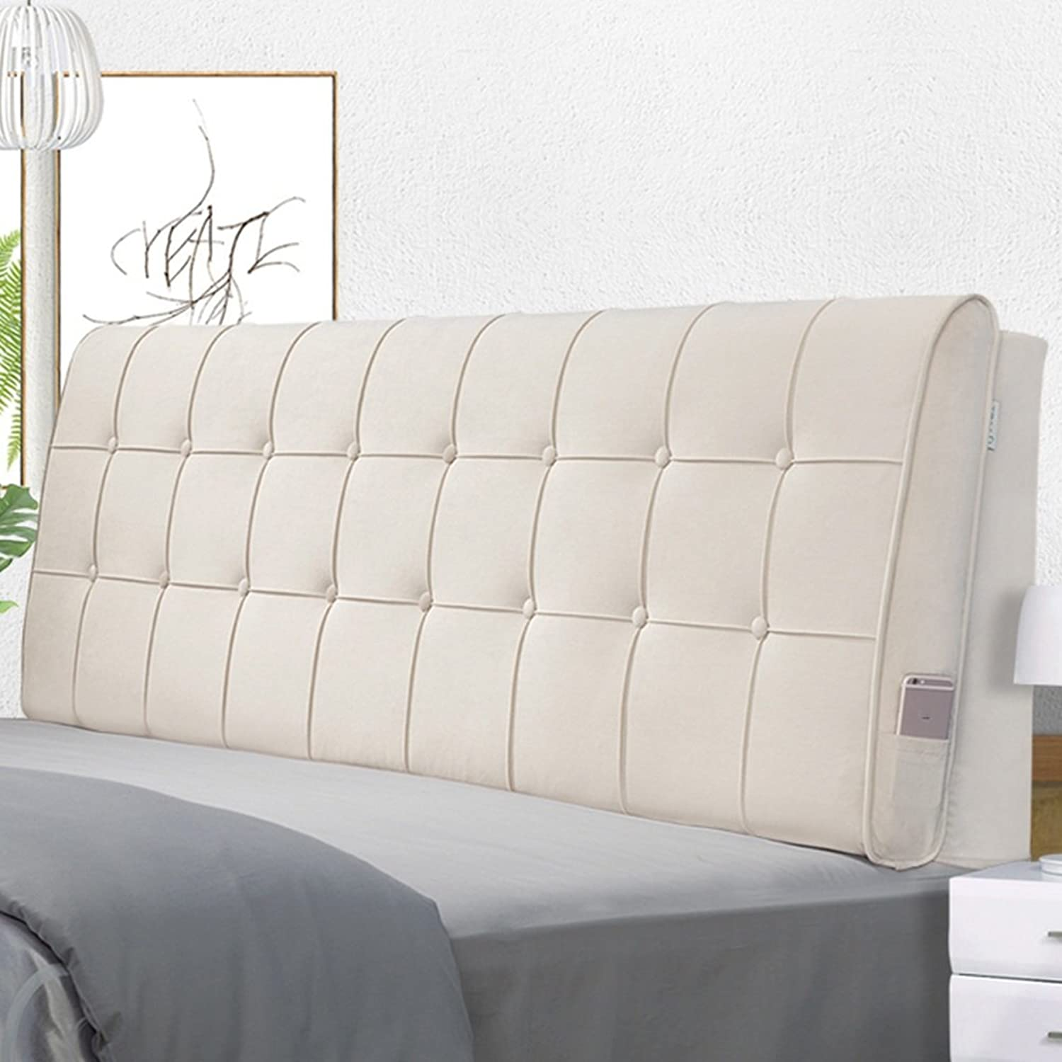 WENZHE Upholstered Fabric Headboard Bedside Cushion Pads Cover Bed Wedges Backrest Waist Pad Cloth Art Large Back Multifunction Soft Case Anti-collision Head, Washable, There Is Headboard   No Headboard, 4 colors, 5 Sizes ( color   2 -NO headboard , Size