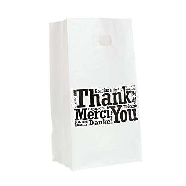 """Royal Recyclable Plastic Shopping Bags with Die Cut Handles, 8 x 5 x 14 Inches, Multilingual""""Thank You"""" Design, Case of 200"""
