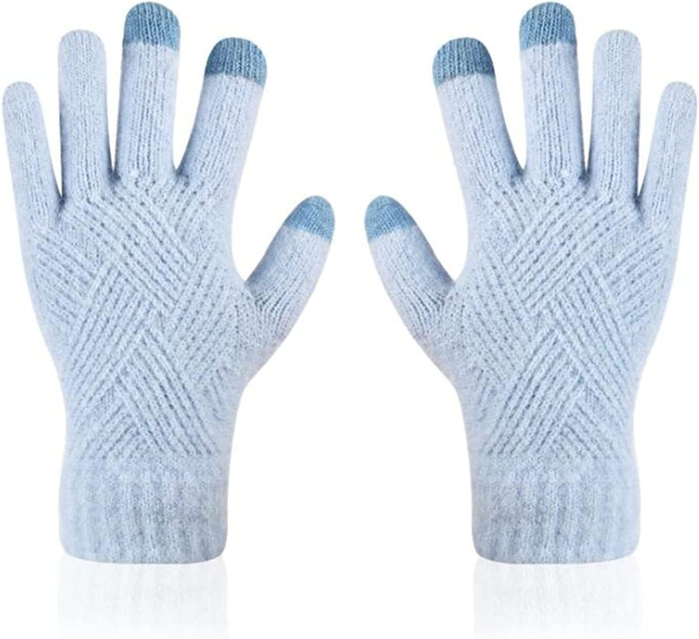 LANREN Female Winter Full Finger Gloves Men Touch Screen Mittens Women Thick Warm Cycling Driving Gloves (Color : 5, Gloves Size : One Size)
