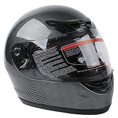 XFMT DOT Adult Motorcycle Flip Up Full Face Helmet Street Dirt Bike ATV Helmets (Carbon Fiber, Large)