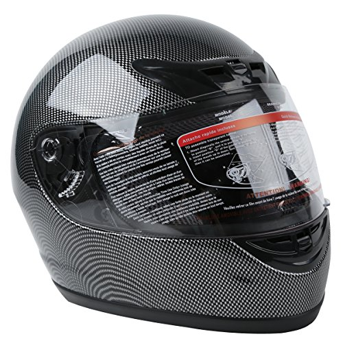 XFMT DOT Adult Motorcycle Flip Up Full Face Helmet Street Dirt Bike ATV Helmets (Carbon Fiber, Large)
