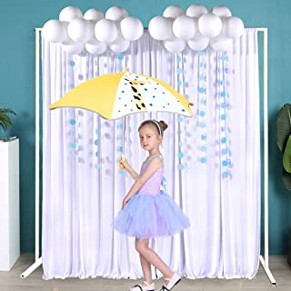 Pack of 2 Polyester White Curtain Backdrop Wedding Backdrop Curtain with Balloons and Paper Garlands 5ft x 7 ft