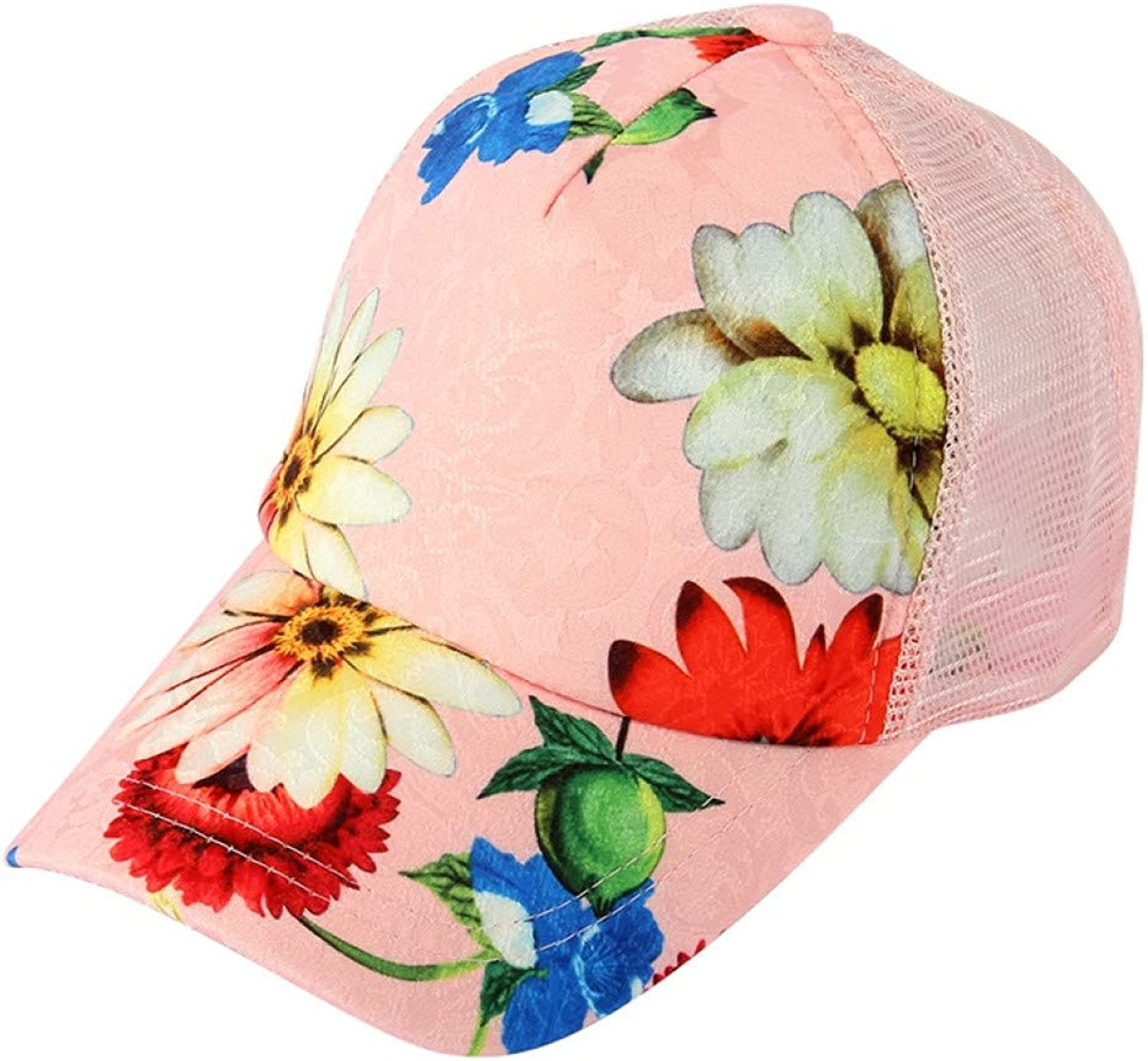 49ca66335 Fashion Summer Black Pink Flower Print Baseball Cap Women Mesh ...