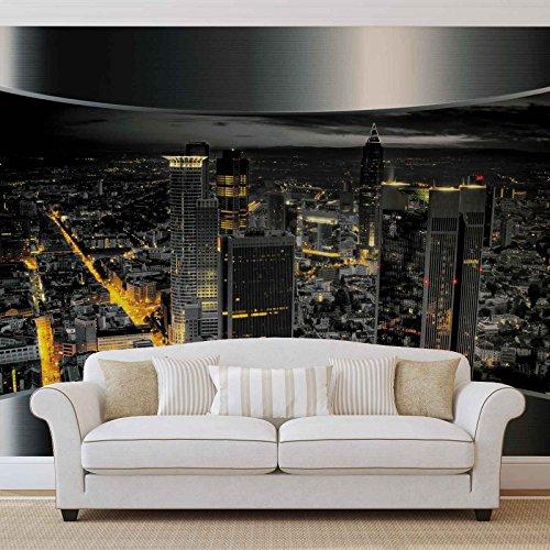 Ausblick Frankfurt Stadt Skyline - Forwall - Fototapete - Tapete - Fotomural - Mural Wandbild - (2206WM) - XXXL - 416cm x 254cm - VLIES (EasyInstall) - 4 Pieces