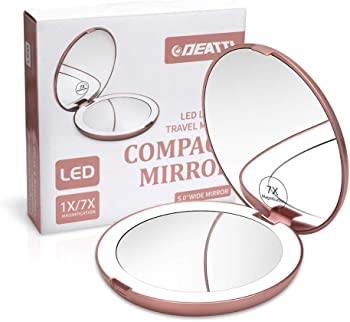 DEATTI Lighted Makeup Compact Mirror for Travel