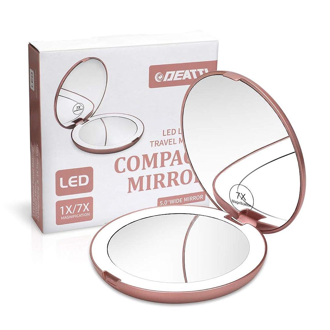 医薬クレーターメモDEATTI 携帯ミラー 鏡 LED 二面鏡 拡大鏡 7倍と等倍 化粧 おしゃれ ローズゴールド