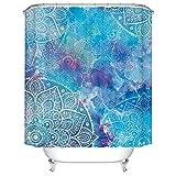 YONG-SHENG Indische Mandala Duschvorhang Digital Gedruckt Wasserdicht & Mildewproof Polyester Gewebe Wohnaccessoires Eingestellt mit Haken 180cm x 180cm (Style 19)