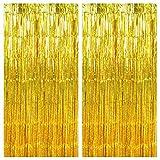 Disino 2 Pack Laser Oro Orpelli Tende Metalliche Tinsel, 1x2m Frangia Lamina Scintillante Shimmer Tenda, Frange di Sfondo, Foil Fringe Tenda per Nozze Compleanno Festa Porta Finestre Decorazioni