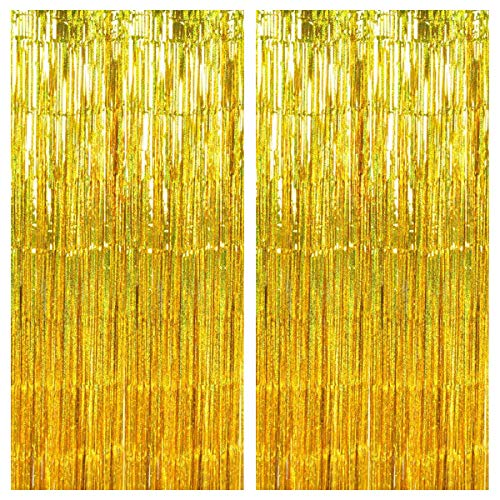 2 Pack Oro Láser Fiesta Cortinas, 1 x 2 m Cortinas de Malla Oropel Lamina Metálica, Aluminio Flecos Cortina Serpentinas, Foil Fringe Cortinas para Boda Cumpleaños Fiesta Puerta Ventanas Decoración