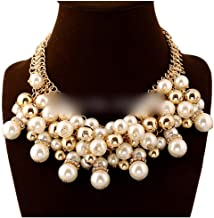 Model Big & Chunky Chain Pearl Necklace For Gold Color,Fine Quality Pearl Multi Layer Necklaces For Wedding & Party