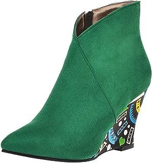 RAZAMAZA Women Mature Wedges Heels Ankle Boots Zipper Boots
