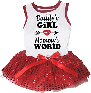 Petitebella Daddy's Girl Mommy's World White Shirt Red Tutu Puppy Dog Dress