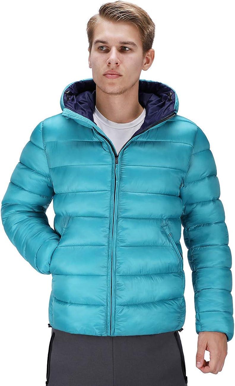 DISHANG Men's Hooded Puffer Jacket Packable Ultra LightweightPuffer Coat, Royal Blue XL
