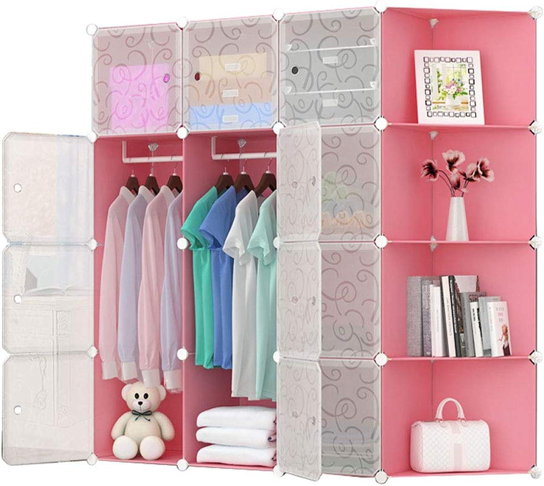 Simple wardrobe Large Capacity simple wardrobe Resin Wardrobe Baby Cartoon Assembly Storage Cabinet Folding Wardrobe (color   A)