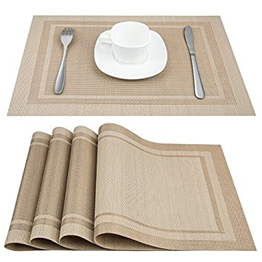Placemats, ARTAND Heat-resistant Placemats Stain Resistant Anti-skid Washable PVC Table Mats Woven Vinyl Placemats, Set of 4 (Beige)