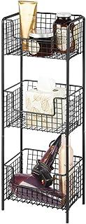 mDesign Estantería de baño de pie en metal – Mueble auxiliar de baño resistente con tres baldas metálicas para toallas, champú y jabón – Ideal también como despensa para la cocina – negro
