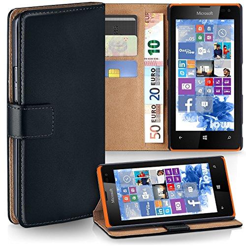 MoEx® Booklet mit Flip Funktion [360 Grad Voll-Schutz] für Microsoft Lumia 435 | Geldfach & Kartenfach + Stand-Funktion & Magnet-Verschluss, Schwarz
