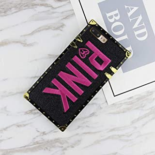 Luxury Brand Victoria Pink Case for iPhone Xs Max X XR Square Case for iPhone 7 8 Plus 6 Bling Glitter Secret Back Phone Cover Square Black for iPhone Xr