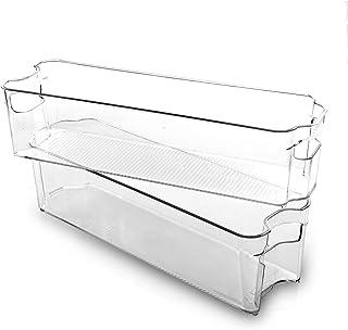 BINO Stackable Plastic Organizer Storage Bins, Small - 2 Pack - Pantry Organization and Storage Refrigerator Organizer Bin...