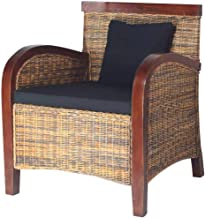 vidaXL Armchair Handwoven Brown Rattan Wicker Mango Wood Sofa Lounge Living Room