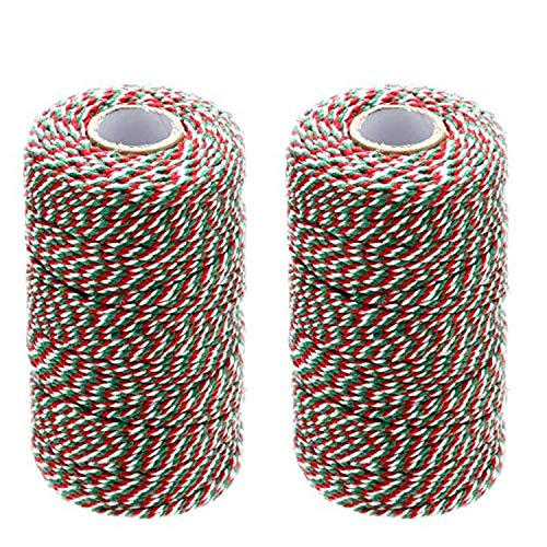 Cotton Bakers Twine Red Green White, 1312 Feet/400m Packing String Durable Rope Perfect for Ribbon, Gardening, Decoration, Tying Cake, Pastry Boxes, DIY Crafts, Gift Wrapping, Art and Craft