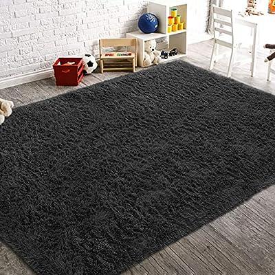 AROGAN Soft Fluffy Rug Modern Shag Area Rugs for Bedroom Living Room 3x5 Feet, Cute and Comfy Nursery Carpets, Luxury Velvet Plush Carpet for Kids Girls, Black