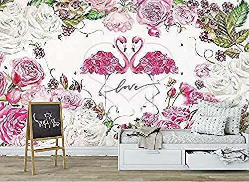 Roze Flamingo Bloem Moderne Flamingo 3D Wallpaper Muurschildering Wallpaper Wallpaper Grijs Muursticker grens zelfklevende wanddecoratie fotobehang 3d behang effect vlies wandfoto slaapkamer 200 x 140 cm.