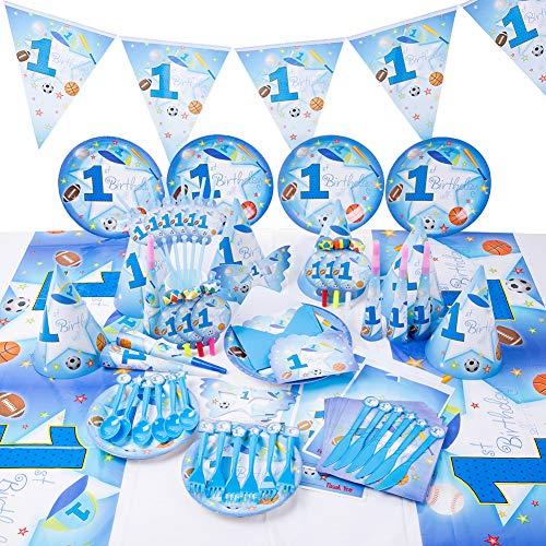 Sportjunge Party Supplies Set Geschirr servieren 16 Gäste Jungen Mädchen Geburtstag Dekorationen Teller Tassen Servietten Tischtuch Papier Banner Babydusche (90pcs)
