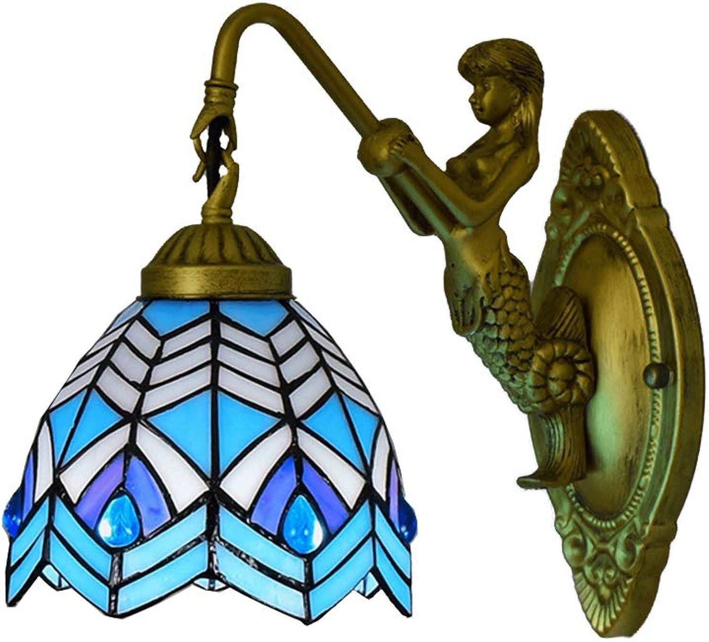 DLewiee Europische blaue Phoniex-Rücklicht-Tischlampe Retro stilvolles Buntglas 6 Zoll für Schlafzimmer mit Abbildung Untersatz